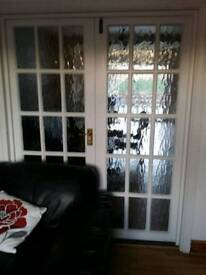 White Solid Wooden Internal Bevelled Glazed Double Doors
