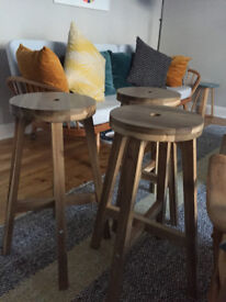 3 Solid Wood Counter Height Stools