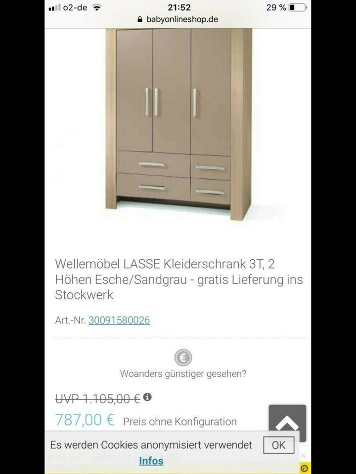 Wellemöbel Kinderzimmer Kleiderschrank und Wickelkommode in Nordrhein-Westfalen - Marl