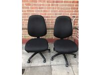 TWO BLACK FABRIC SWIVEL OFFICE OR COMPUTER CHAIRS No ARM RESTS