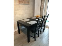 Ikea Extended dining table with 4 chairs
