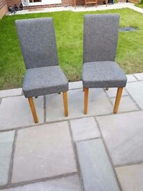 TWO Grey Material Dining Chairs