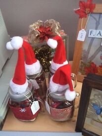 Various Xmas Ornaments / Candles NEW...Shabby Chic Style