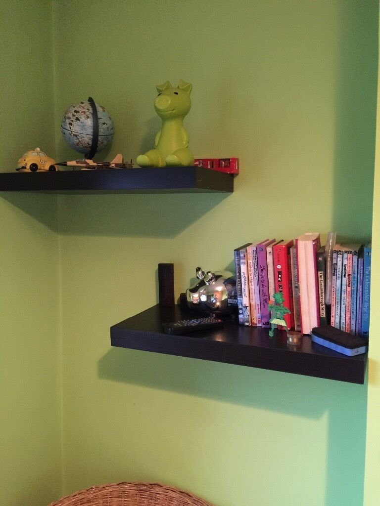 IKEA PERSBY 5 Black Brown Floating Shelves