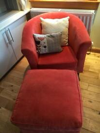 John Lewis orange/red tub chair and footstool - excellent condition