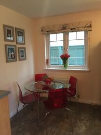 John Lewis red chairs / table / glass