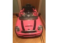 Mini Cooper pink ride on