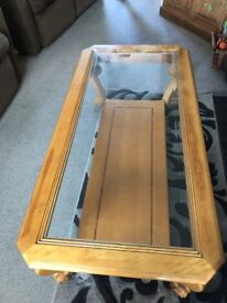 lovely used wooden and glass coffee table
