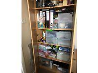 Home office furniture set of desk, cupboard, filing cabinet, shelves