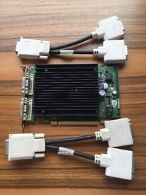 PNY Nvidia Quadro NVS 440 256MB PCIe x16 Quad Display Card + DVI splitter cables