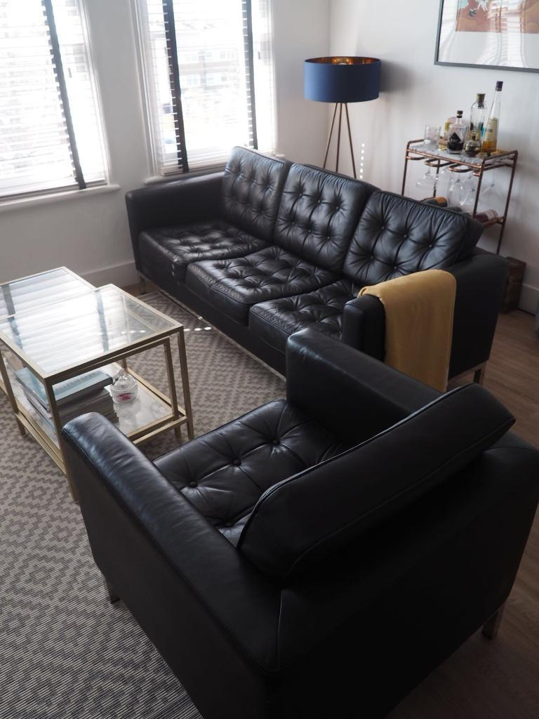 Awesome Florence Knoll Style 3 Seater Sofa Armchair Chair Black Faux Leather Great Condition In Lewisham London Gumtree Download Free Architecture Designs Scobabritishbridgeorg