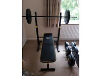 Everlast folding weightlifting bench and weights