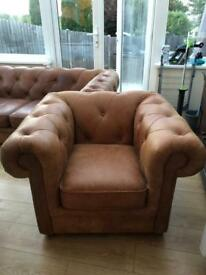 DFS light brown leather sofa and armchair