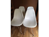 4 modern white dining chairs, vgc