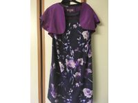 Jacques vert purple and navy dress and jacket size 16 £20 ono