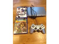 Slim ps2 with two games and a controller