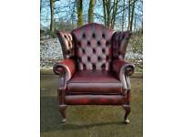 Chesterfield Thomas Lloyd oxblood wingback chair AS NEW! BARGAIN!