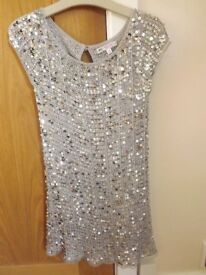 Girls Marks and Spencer Silver Sparkle Dress Age 7-8