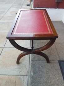 4 solid wood tables with leather tops