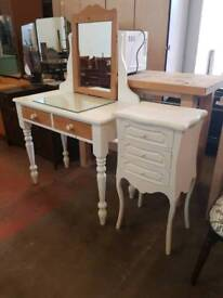 White dressing table with bedside cabinet