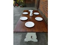 Vintage refectory oak dining table. White distressed. Rustic shabby chic farmhouse. LOCAL DELIVERY