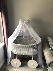 Mj mark large baby wicker crib with custom star print bedding