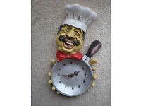 LAUGHING CHEF CLOCK - AS NEW