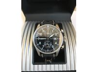 PILOT CHRONOGRAPH WATCH WITH DOUBLE LEATHER STRAP - HARDLY WORN