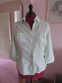 Ladies pale green H&M linen mix shirt Size EU44 (16/18) Excellent condiiton