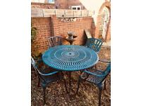 Large Garden Metal Table + 4 Chairs (brown)