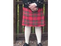Adult Royal Stewart tartan kilt, waist size 28 inch to 33 inch , 8 yard kilt worn once,£100