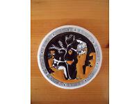 Vintage hand made by Tassoulis Ceramics Greek circular ceramic tile, coaster. Can post. £1.50.