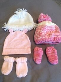 Hats and mittens baby girl 3-6 months