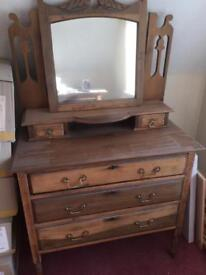 Antique chest of drawers with top mirror