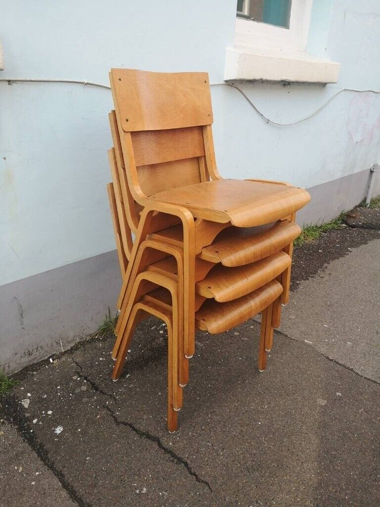 Fantastic Set Of Four 1960S Adult Size Stacking Chapel School Dining Chairs Vintage Retro Mid Century In Brighton East Sussex Gumtree Download Free Architecture Designs Aeocymadebymaigaardcom