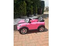 Kids Pink Mini Cooper electric car