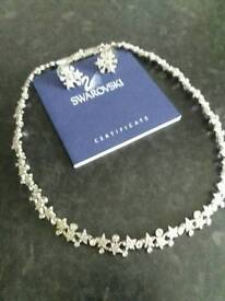 NEW SWAROVSKI set of 18k white gold with cubic zirconia and silver addition