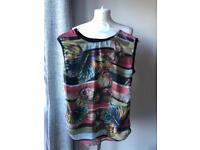 Qed London Black Top With Butterflies size 8