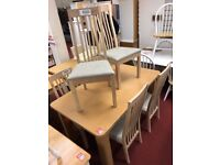 Extendable Table and 6 Solid wood chairs fabric seat