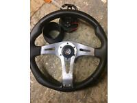Vauxhall Cavalier aftermarket steering wheel + boss kit.