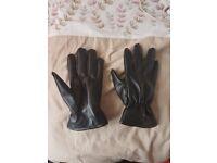 Mens/Large Black Faux Leather Gloves