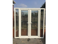 UPVC DOUBLE GLAZED FRENCH PATIO DOOR WITH SIDE PANELS 203.5cm WIDE 206cm HIGH KEYS Can deliver
