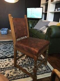 4xoak dining chairs with leather and studs