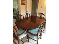 Extendable Mahogany Dining Table with chairs