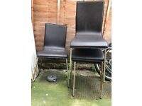 Dining Chairs x4 brown leather with metal legs