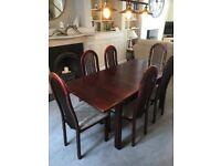 Extending Dining Table and Six Chairs