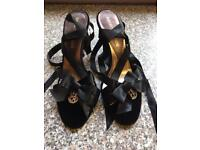Emporio Armani sandals ribbon ankle ties size 4