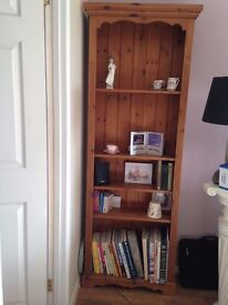 QUALITY SOLID WOOD PINE TALL BOOKCASE
