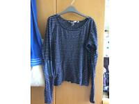 Blue and white stripy top