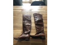 Brown leather over the knee boats size UK7 EU40